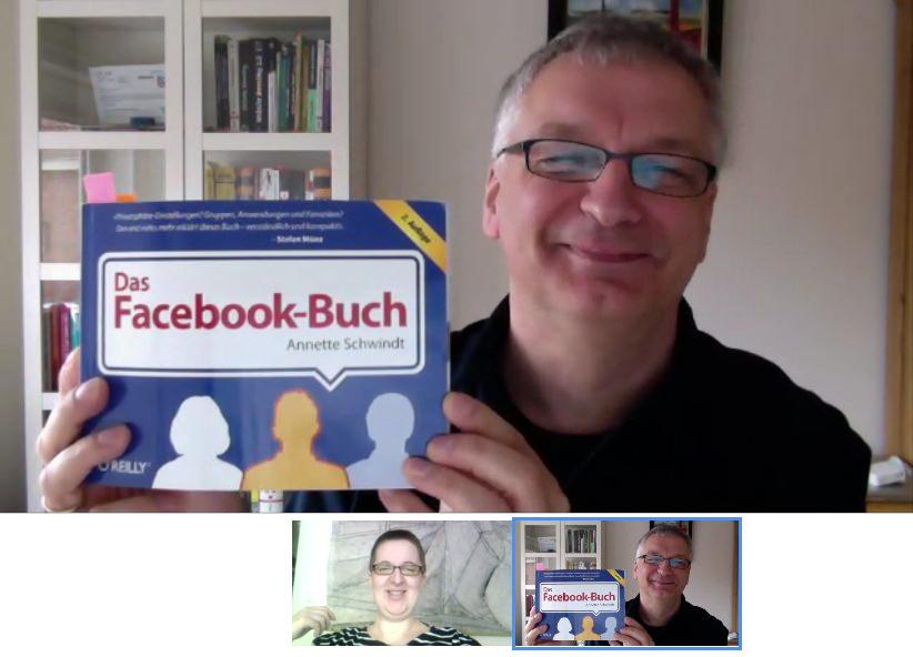 Screenshot der ersten Skype-Sitzung von Annette Schwindt und Peter Müller (mit Annettes Facebook-Buch)